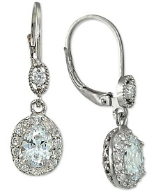 Giani Bernini Cubic Zirconia Halo Oval Drop Earrings in Sterling Silver, Created for Macy's