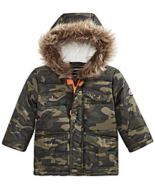 Baby Boys Hooded Camo-Print Jacket With Faux-Fur Trim