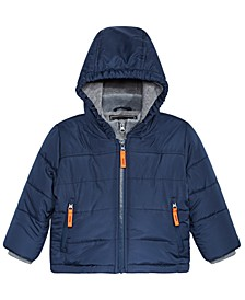 Baby Boys Hooded Bubble Jacket With Fleece Vest