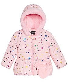 Baby Girls Star-Print Hooded Jacket & Mittens