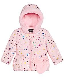 Baby Girls Star-Print Hooded Jacket & Mittens