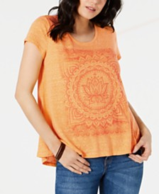Style & Co Graphic High-Low Swing Top, Created for Macy's