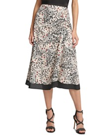 DKNY Draped Printed A-line Skirt