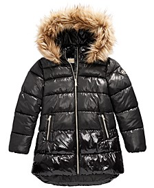 Big Girls Faux-Fur-Trim Shiny Hooded Puffer Jacket