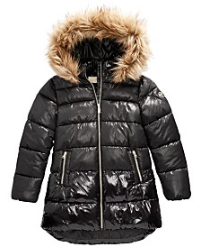 Michael Michael Kors Big Girls Faux-Fur-Trim Shiny Hooded Puffer Jacket