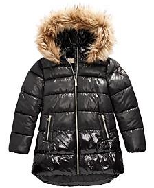 Michael Michael Kors Big Girls Faux-Fur-Trim Shiny Hooded Puffer Jacket