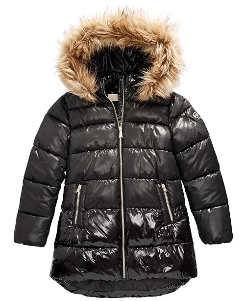 Michael Kors Little Girls Faux-Fur-Trim Shiny Hooded Puffer Jacket