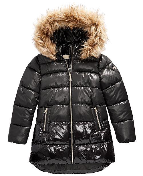 Michael Kors Toddler Girls Faux-Fur-Trim Shiny Hooded Puffer Jacket