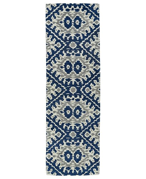 "Kaleen Global Inspirations GLB01-17 Blue 2'6"" x 8' Runner Rug"