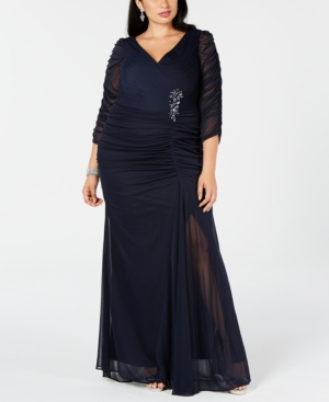 Vintage Evening Dresses and Formal Evening Gowns Adrianna Papell Plus Size Three-Quarter-Sleeve Ruched Gown $179.00 AT vintagedancer.com