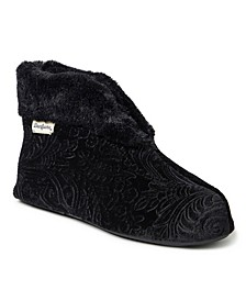 Women's Embossed Velour Bootie Slippers, Online Only