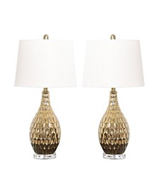 Flora Gold Textured Table Lamp, Set of 2