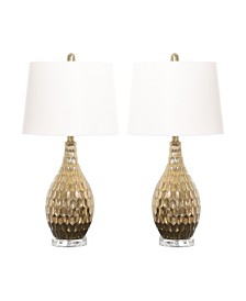 Abbyson Living Flora Gold Textured Table Lamp, Set of 2