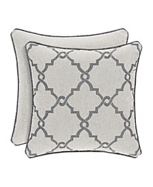 "J Queen Matteo 18"" Square Embellished Decorative Throw Pillow"