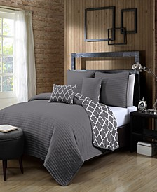 Griffin 4-Pc. Twin Solid with Quatrafoil Reversible Quilt Set