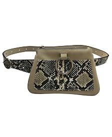 Fashion Focus Accessories Modern Geometric Snake-Print Belt Bag