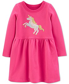 Toddler Girls Cotton Sequin Unicorn Dress