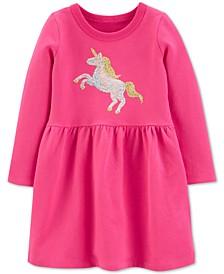 Toddler Girls Cotton Sequin Unicorn Dress