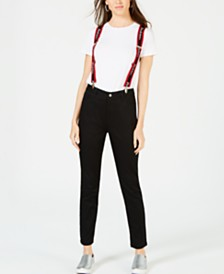 Dickies High-Rise Skinny Jeans with Suspenders