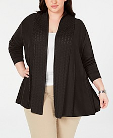 Plus Size Pointelle-Trim Cardigan Sweater, Created for Macy's