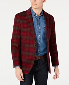Tommy Hilfiger Men's Modern-Fit THFlex Stretch Red Plaid Corduroy Sport Coat