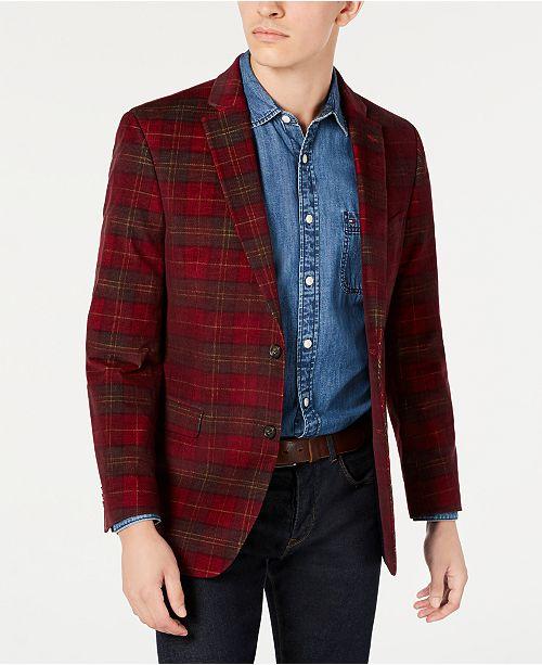 Tommy Hilfiger Men's Modern-Fit THFlex Stretch Red Plaid Corduroy Sport Coat