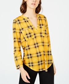 Crave Fame Juniors' 3/4-Sleeve Plaid Shirt