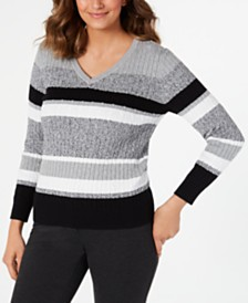 Karen Scott Petite Cotton Striped Cable-Knit Sweater, Created for Macy's