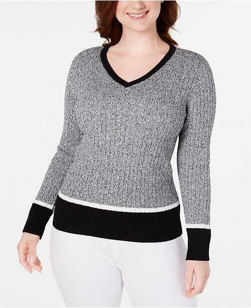Karen Scott Teresa Cotton Colorblocked Sweater, Created for Macy's