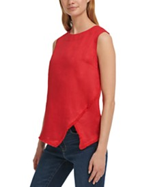 DKNY Linen Raw-Trim Asymmetrical Top