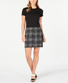 Calvin Klein Solid & Plaid Shift Dress