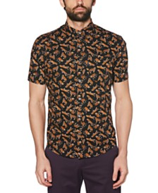 Original Penguin Men's Stretch Tiger-Print Shirt