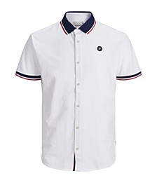 Men's Summer Polo full button Shirt with contrast details