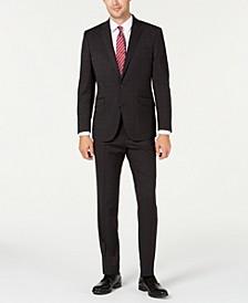 Men's Slim-Fit Ready Flex Stretch Charcoal Graph Plaid Suit