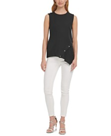 DKNY Studded Asymmetrical Tank Top