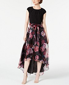 High-Low Floral-Skirt Gown