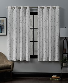 """Exclusive Home Belmont Embroidered Woven Blackout Grommet Top 52"""" X 63"""" Curtain Panel Pair"""