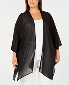 Anne Klein Plus Size Open-Front Chiffon Cardigan
