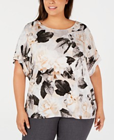 Calvin Klein Plus Size Printed Toggle-Sleeve Top