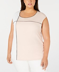 Calvin Klein Plus Size Colorblocked Top