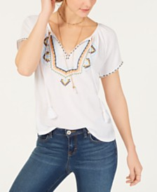 Lucky Brand Embroidered Short Sleeve Peasant Top