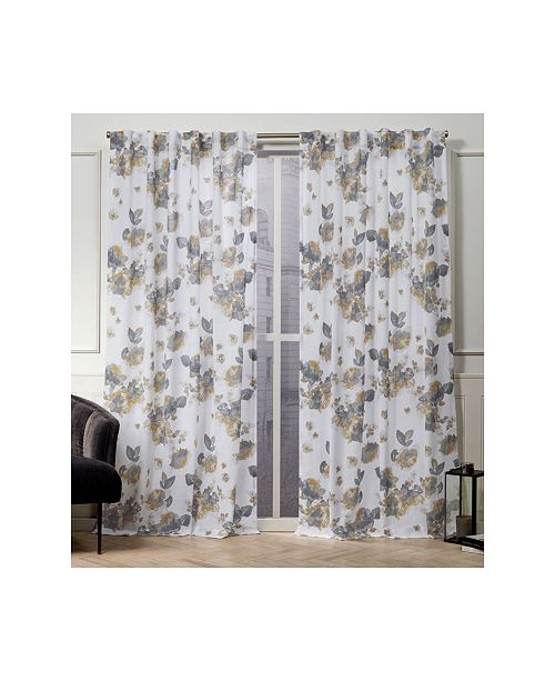 "Exclusive Home Nicole Miller Kristy Floral Cotton Hidden Tab Top 50"" X 108"" Curtain Panel Pair"