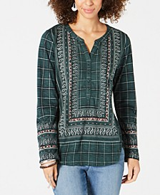 Border-Print Tunic Top, Created for Macy's