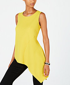 Alfani Petite Asymmetrical-Hem Top, Created for Macy's