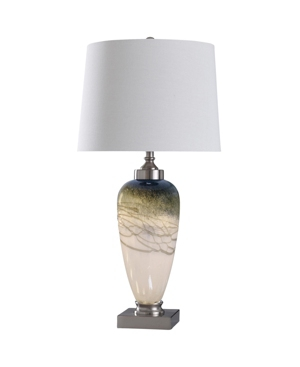 Stylecraft Elstree 35in Glass Body and Metal Base Table Lamp with Led Night Light in Base