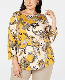 Plus Size Cotton Printed 3/4-Sleeve Top, Created for Macy's