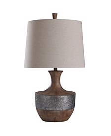 Darley Table Lamp 30In Silver Vein Relief Banded Chestnut Grained