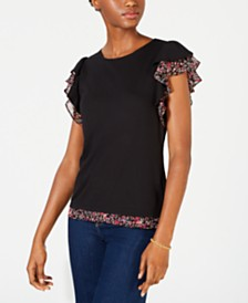 Maison Jules Contrast-Trim Flutter-Sleeve Top, Created for Macy's