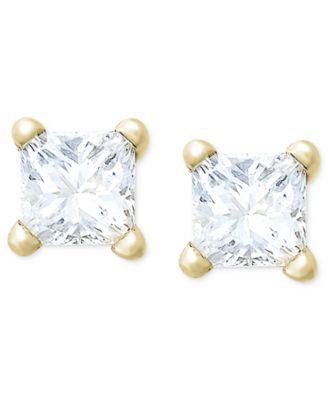 Macy S Princess Cut Diamond Stud Earrings In 10k White Or Yellow