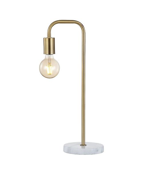 "JONATHAN Y Axel 20.5"" Minimalist Glam Gold Pipe Metal/Marble LED Table Lamp"